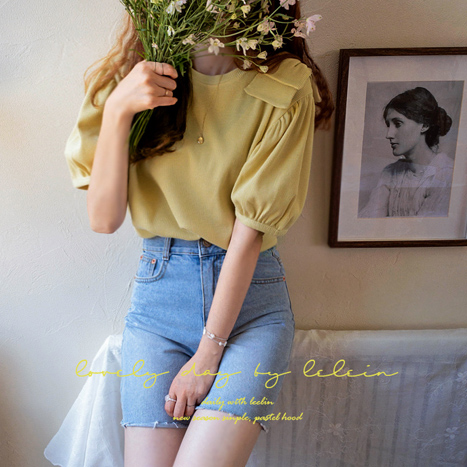 leelin-[라이크라 앤숄더 와플링 티[size:F(55~66)]]♡韓國女裝上衣
