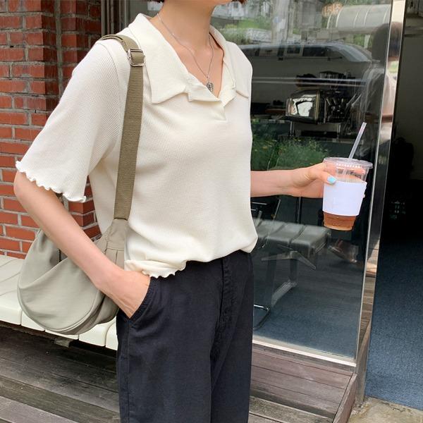 66girls-와플물결카라반팔T♡韓國女裝上衣