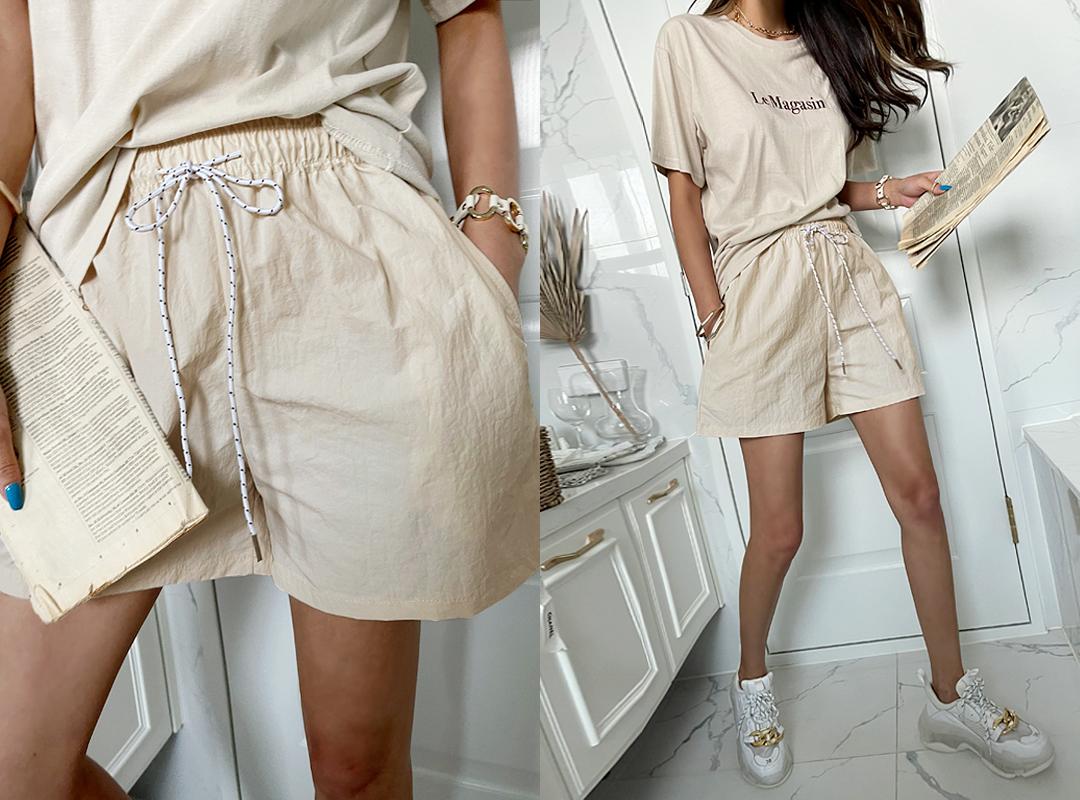 naning9-트레칼 밴딩숏팬츠(C07)♡韓國女裝褲