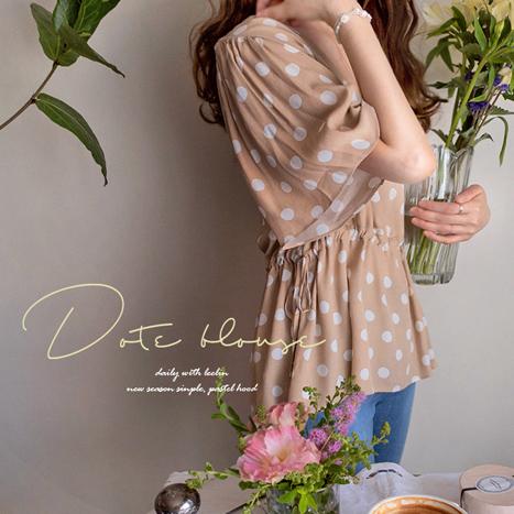 leelin-[바람송송 도트소매 엣지핏  블라우스[size:F(55~66)]]♡韓國女裝上衣