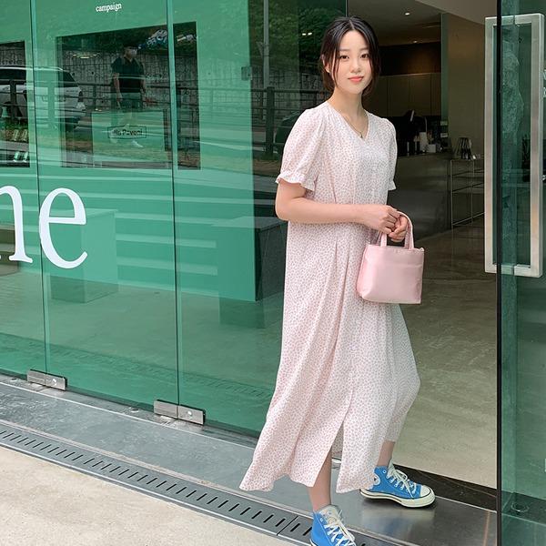 66girls-코인플라워퍼프롱OPS♡韓國女裝連身裙
