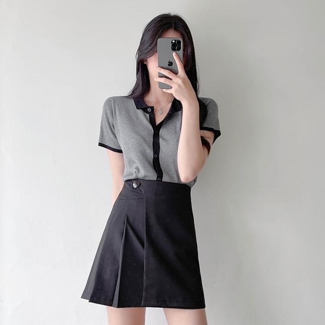 sonyunara-비노 배색 카라 골지 니트 가디건♡韓國女裝外套