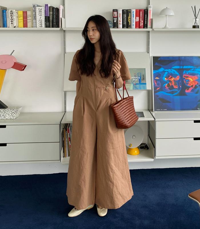 sibuya-[모드 린넨 점프수트]♡韓國女裝褲