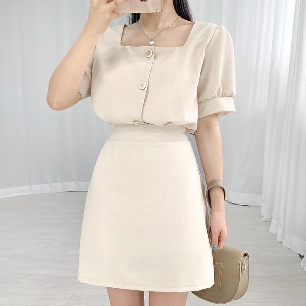 bullang-[세트가격/러블리룩] 스퀘어 퍼프 투피스♡韓國女裝套裝