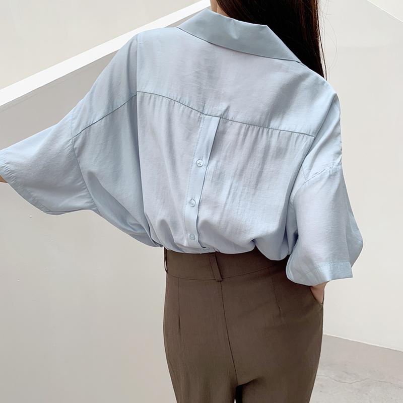 45th-뒷버튼카라셔츠 ♡韓國女裝上衣