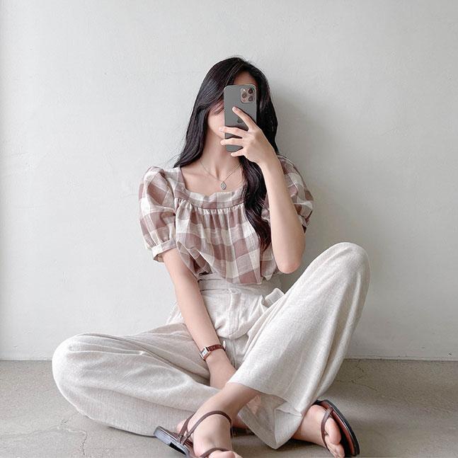sonyunara-샤프 퍼프 벌룬 스퀘어넥 반팔 블라우스♡韓國女裝上衣