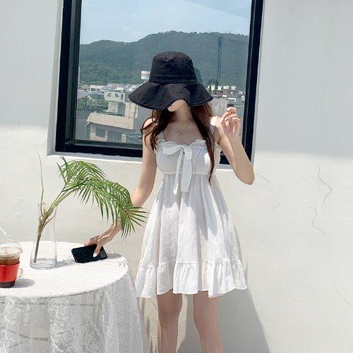 jnroh-(국내O) 피피 리본 밴딩 프릴 플레어 끈 뷔스티에 원피스 (아이보리,블랙)♡韓國女裝連身裙