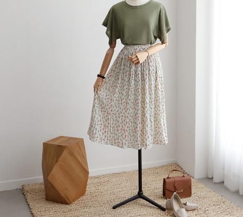 beige blanc-라온 플라워 플리츠 스커트]♡韓國女裝裙