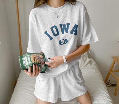 white-fox-[캐주얼레터링반팔트레이닝세트]♡韓國女裝套裝