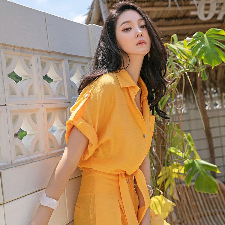 dint-[S310 브레딘 카라 꼬임 크롭 셔츠(11st REORDER)]Document♡韓國女裝上衣