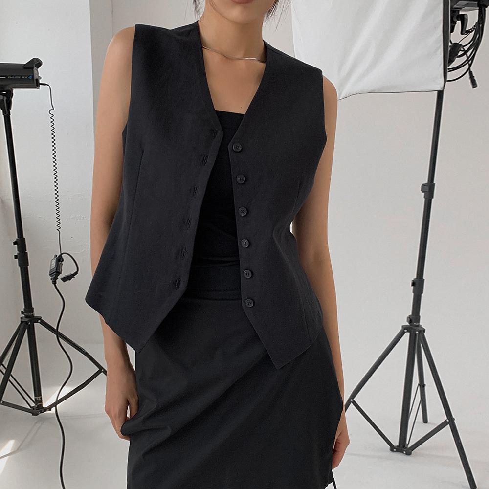 blackup-쿠론사 썸머 베스트 (린넨 55%)♡韓國女裝外套