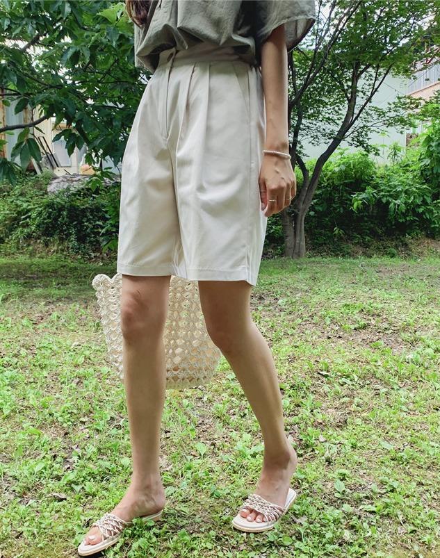 loloten-덴시 핀턱 반바지♡韓國女裝褲