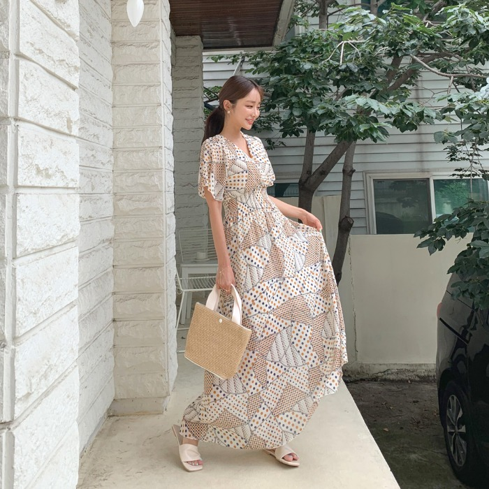 theresheis-더이츤 도트 쉬폰 롱 원피스♡韓國女裝連身裙