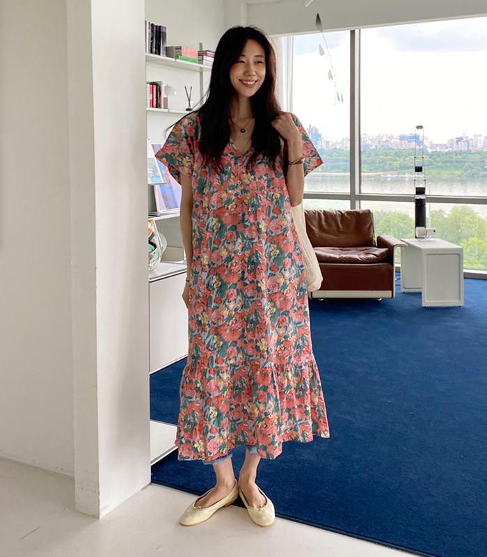 sibuya-[레트로 플로럴 ops]♡韓國女裝連身裙