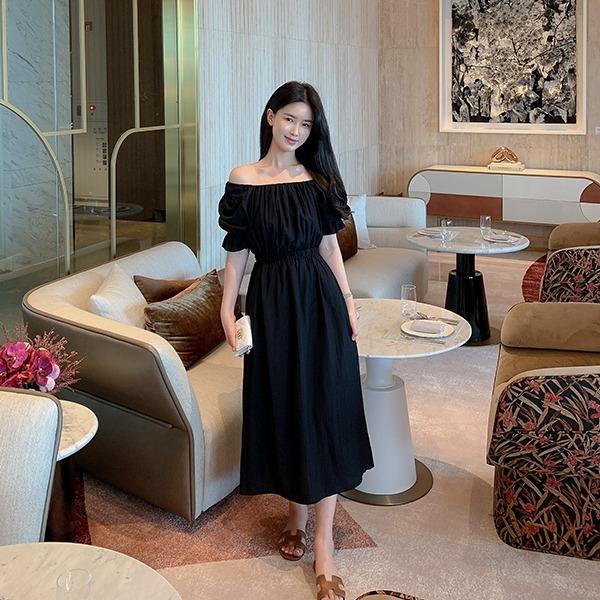 benito-델리시아 셔링 롱 원피스 신상/베스트/오프숄더/휴가/휴가룩/원피스/숄더/롱/A라인/무지/기본/밴딩/여성/데일리♡韓國女裝連身裙
