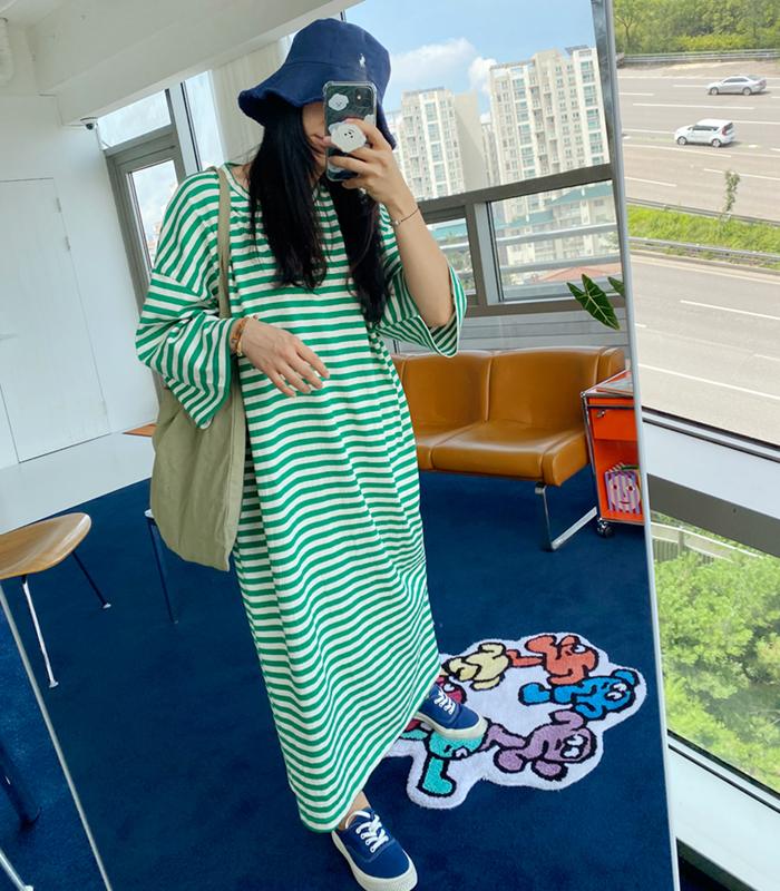 sibuya-[박시 슬릿 스트라이프 ops]♡韓國女裝連身裙