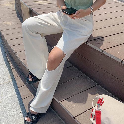 unbutton-[홀 비죠 데미지-pt]♡韓國女裝褲