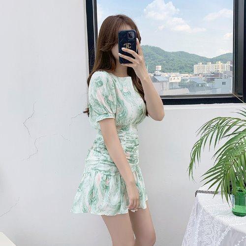 jnroh-썸딜 물나염 퍼프소매 셔링 리본끈 프릴 원피스 (민트,베이지,소라)♡韓國女裝連身裙