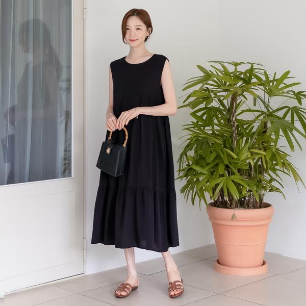 misscandy-[no.20802 셔링캉캉 백리본 민소매 롱원피스]♡韓國女裝連身裙