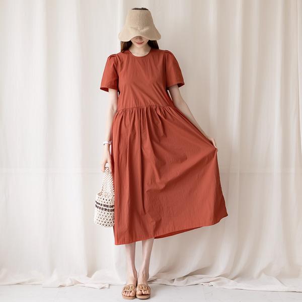 misscandy-[no.20801 백버튼 퍼프소매 바스락 롱원피스]♡韓國女裝連身裙