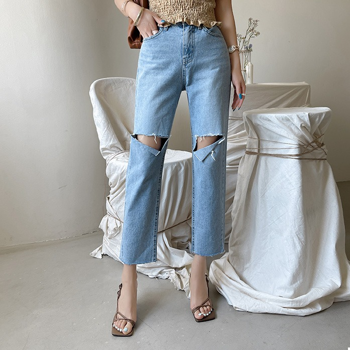 dabagirl-디어데님팬츠(385)_D2DE 30대여성쇼핑몰 20대여자쇼핑몰 키작은여자쇼핑몰 여성의류쇼핑몰 데이트룩 데일리룩 여친룩 하의 팬츠 데님 하이웨스트 컷팅 포인트룩 내츄럴 워싱 연청데님♡韓國女裝褲
