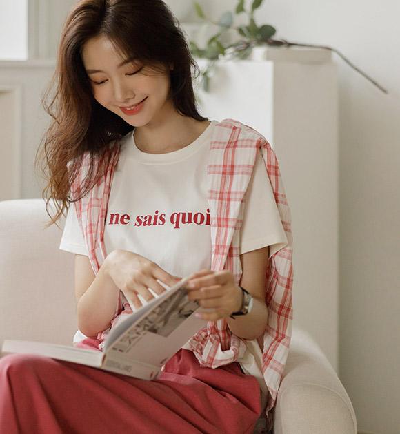 justone-쥬느 소프트스판 레터링 반팔티♡韓國女裝上衣