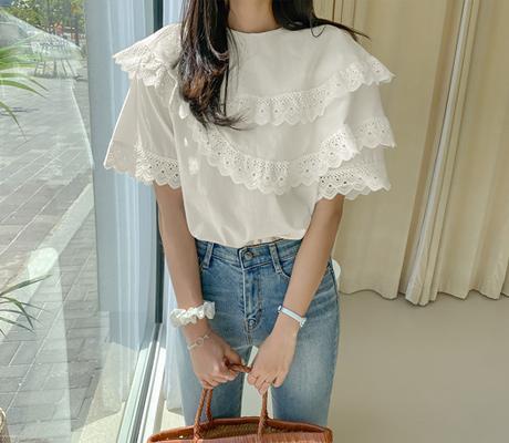 white-fox-[프릴펀칭레이스반팔블라우스]♡韓國女裝上衣