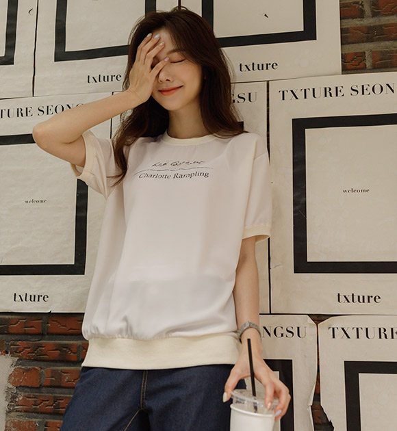 justone-커넥 가벼운 쉬폰 반팔맨투맨♡韓國女裝上衣