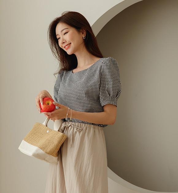 justone-링클제로 시어서커 퍼프블라우스♡韓國女裝上衣