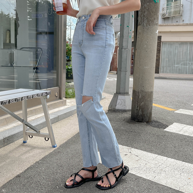 sonyunara-도리스 하이웨스트 컷팅 롱 데님 팬츠♡韓國女裝褲