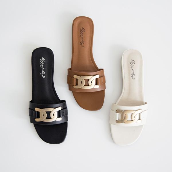 misscandy-[no.20800 골드체인 스트랩 플랫슬리퍼]♡韓國女裝鞋