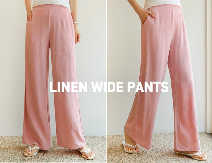 pinksisly-소야 린넨 와이드 롱 뒷밴딩 팬츠     ♡韓國女裝褲