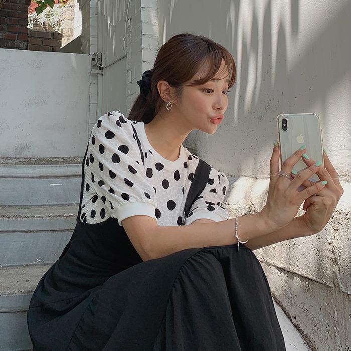 theresheis-오프니 도트 티셔츠♡韓國女裝上衣