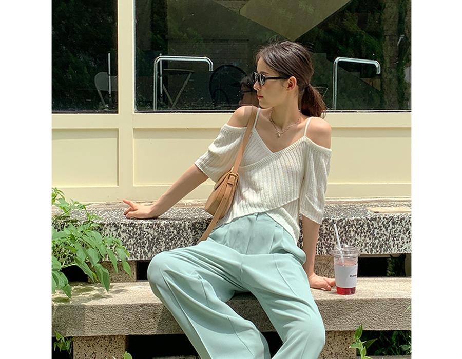 frombeginning-오프숄더 크로스슬립니트티 (3color)♡韓國女裝上衣