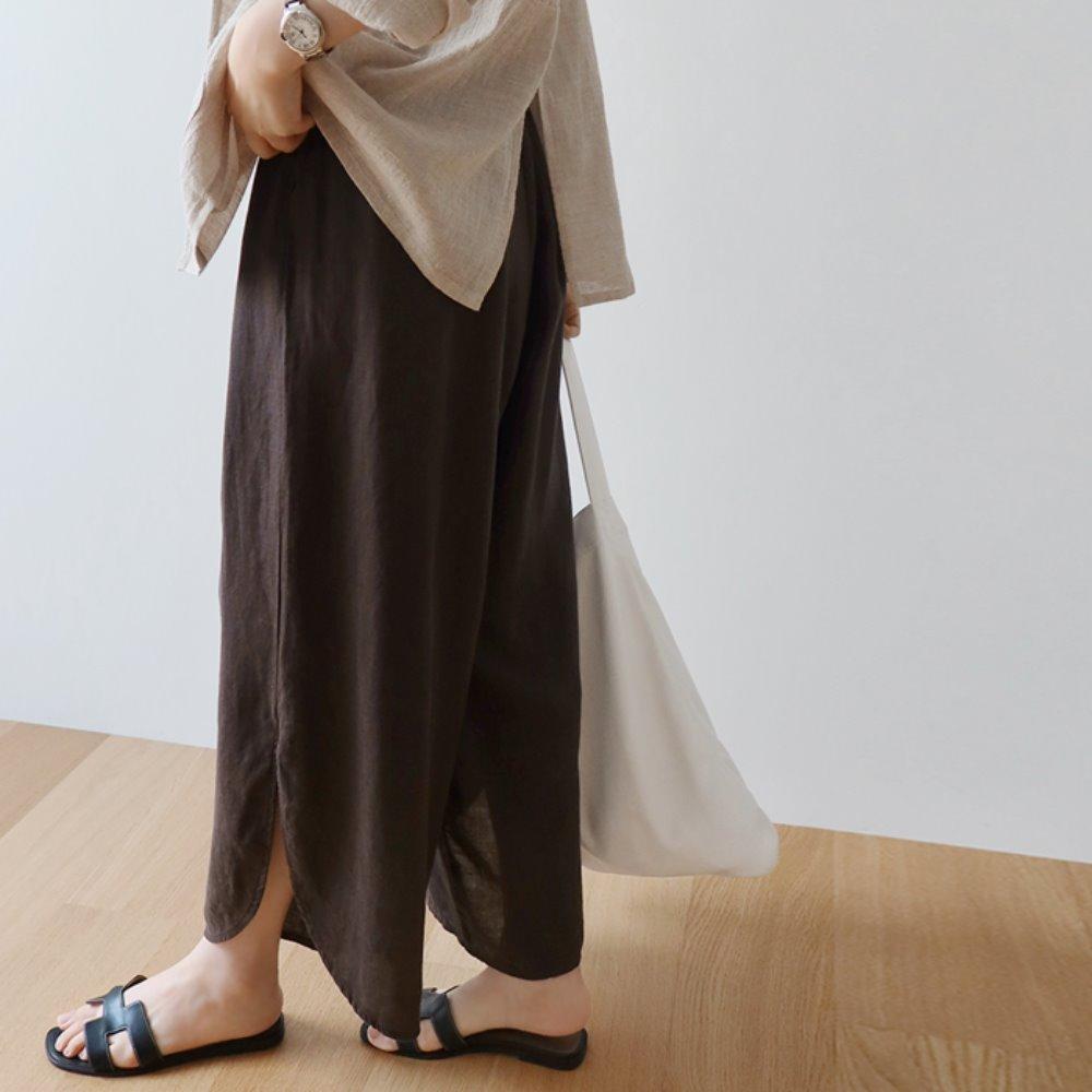 littleblack-슬릿 린넨 와이드 팬츠(2C)(린넨100)♡韓國女裝褲