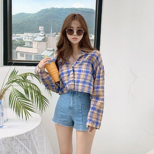 jnroh-디즈 체크 워싱 썸머 크롭 셔츠 남방 (옐로우,네이비)♡韓國女裝外套