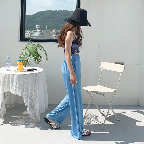 jnroh-(밴딩) 키젤 와이드 일자 찰랑 썸머 롱 주름 팬츠 (베이지,소라,블랙)♡韓國女裝褲