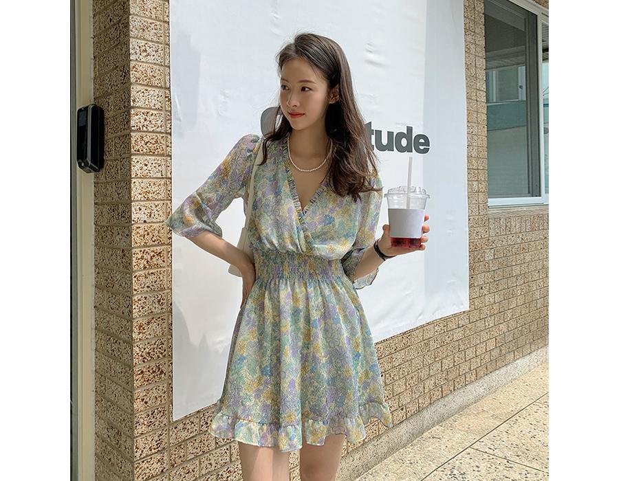 frombeginning-코스모스 프릴밴딩미니원피스 (2color)♡韓國女裝連身裙