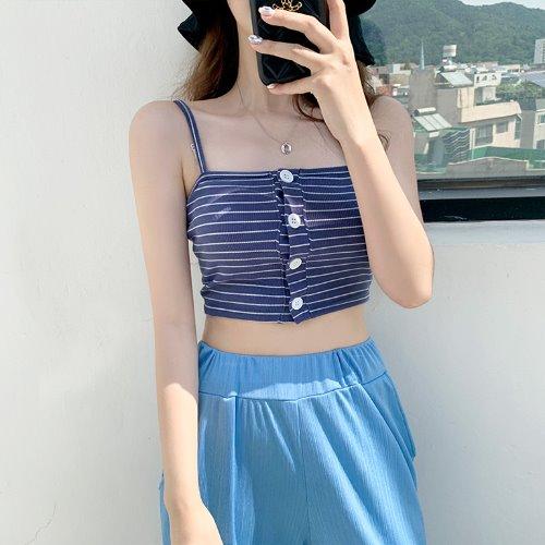 jnroh-미카 스트라이프 버튼 골지 크롭 뷔스티에 끈나시 (화이트,블루,카키)♡韓國女裝上衣