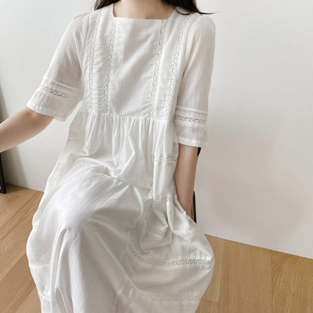 littleblack-스퀘어 넥 레이스 롱 원피스♡韓國女裝連身裙