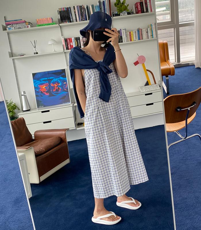 sibuya-[깅엄 슬리브리스 JS]♡韓國女裝連身裙