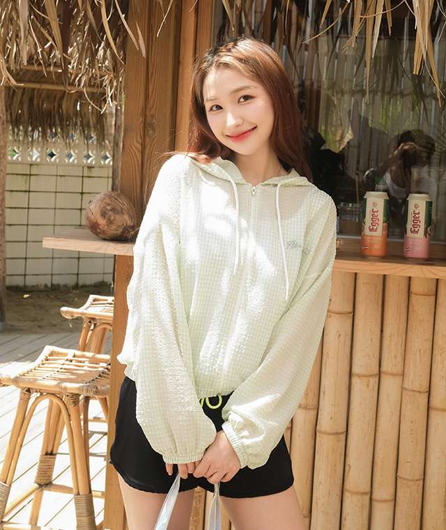 kikiko-잔썸머체크후드JP♡韓國女裝外套