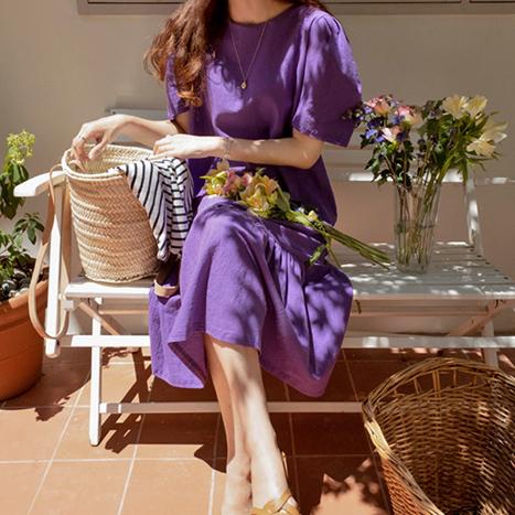 leelin-[제인에어 이슈소매 린넨 원피스[size:F(55~66)]]♡韓國女裝連身裙