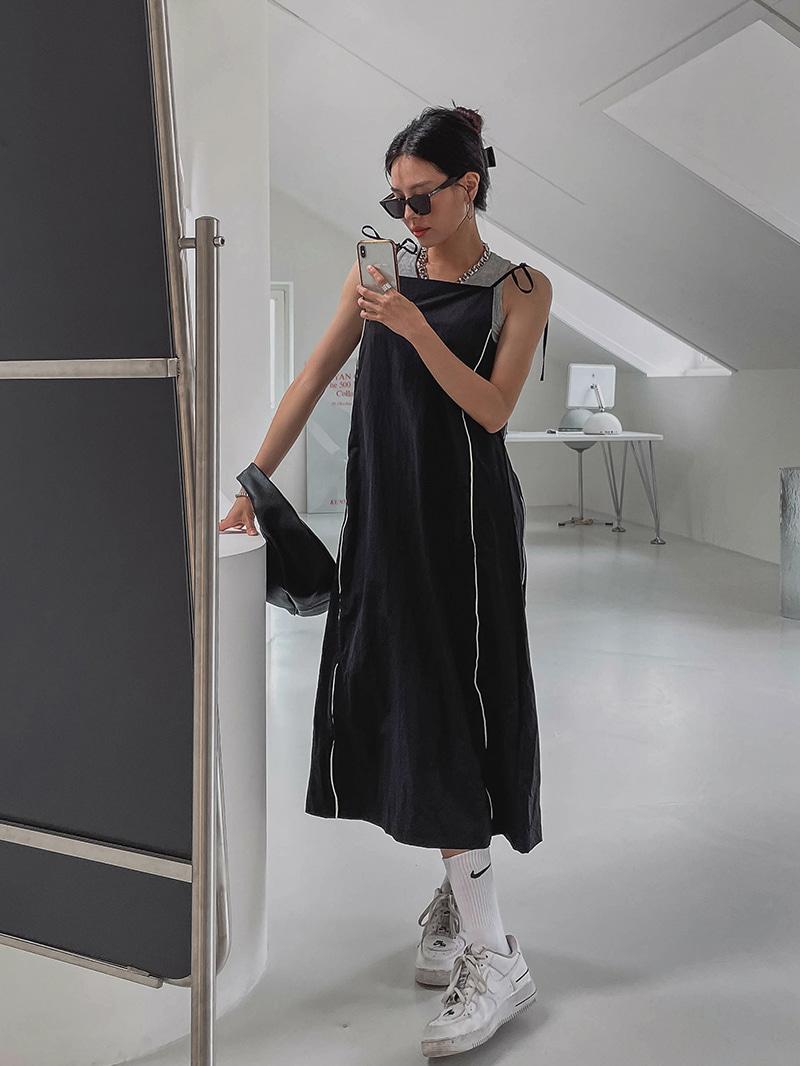 crazygirls-파이핑나일론원피스-ops♡韓國女裝連身裙