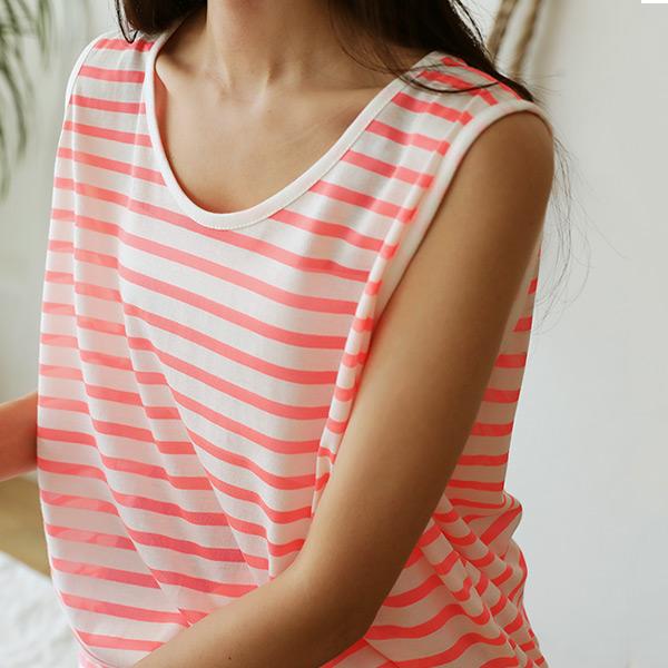 chicfox-포카리 스트라이프나시♡韓國女裝上衣