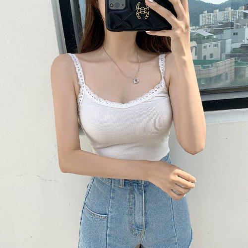jnroh-헬란 레이스 스퀘어 브이넥 골지 끈나시(아이보리,블랙)♡韓國女裝上衣