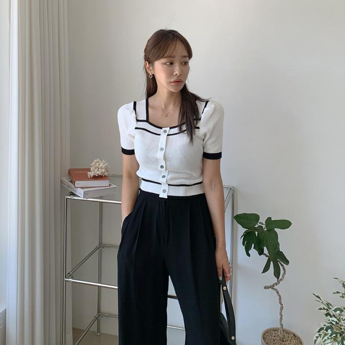 theresheis-코니즈 스퀘어넥 크롭 니트♡韓國女裝上衣