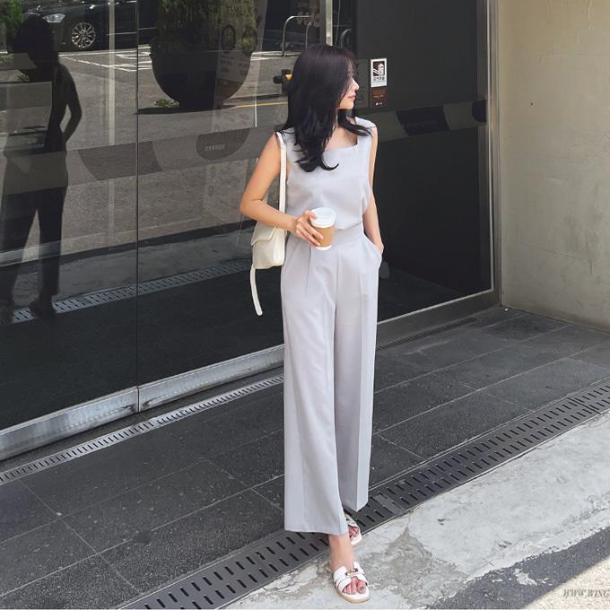 wingsmall-벨칸(스퀘어나시팬츠세트)♡韓國女裝套裝