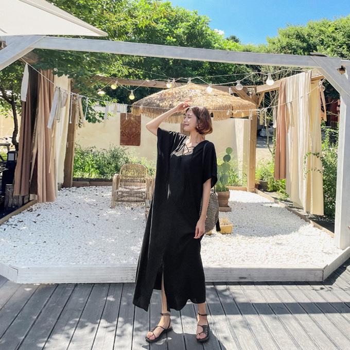 wingsmall-시원한오후(헤나X린넨롱원피스)♡韓國女裝連身裙