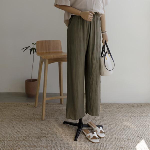 mariangplus-[P] 폴리우 세미와이드 롱팬츠 P_P4385♡韓國女裝褲